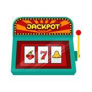 Slot Machine Web Banner Isolated on Green Stock Illustration
