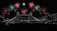 London Tower Bridge with Bright Firework Arkistovideo