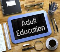 Small Chalkboard with Adult Education Concept. 3D Stock Illustration