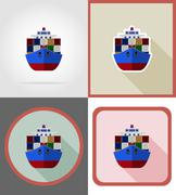 Delivery shipping by sea on a ship flat icons vector illustration Stock Illustration