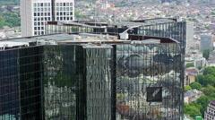 Deutsche Bank Frankfurt Aerial 4k Footage Stock Footage