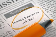We're Hiring Human Resources Advisor. 3D Stock Illustration