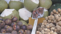 Panning shot of a fruit and vegetable market Stock Footage