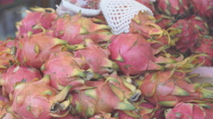 Exotic Tropical Dragon Fruit on Market Stand, Thailand. Closeup Stock Footage