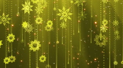 Golden snowflakes seamless background. Looped Stock Footage