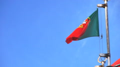 Portugal flag against a summer sky Stock Footage