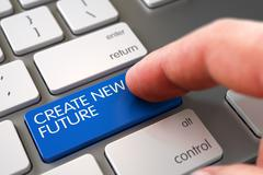 Create New Future - Slim Aluminum Keyboard Concept. 3D Stock Illustration