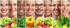 People with fruits and vegetables Stock Photos