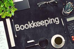 Black Chalkboard with Bookkeeping. 3D Rendering Stock Illustration
