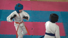 Kids karate competition Stock Footage