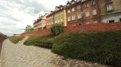 Brick wall in the old town of Warsaw. Poland. 4K. Stock Footage