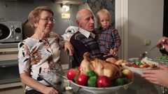 Happy family celebrating Thanksgiving holiday Stock Footage
