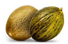 Group of melons isolated on white background Stock Photos