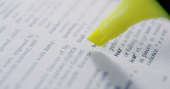 Close-up of marker pen highlighting text Stock Footage