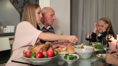 Beautiful mother serving meal to daugther Stock Footage
