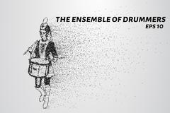 Drummer of the particles. The drummer in a school orchestra. The drummer brea Stock Illustration