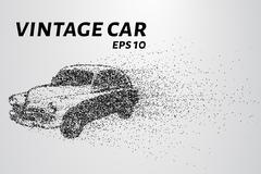 Car from the particles. Vintage car breaks down into molecules. Car of dots a Stock Illustration