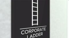 Corporate Ladder CU in Corporate Office Building Hallway Stock Footage