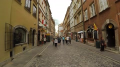 Walking through the ancient streets of Warsaw. Poland. 4K. Stock Footage