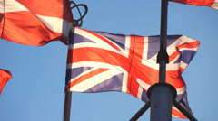 Great Britain flag on the background of sky Stock Footage