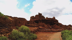 Walking To Native American Indian Ruins- Wupatki National Monument Stock Footage