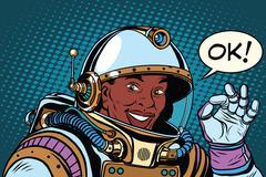 African American astronaut OK gesture Piirros