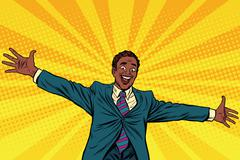 Happy African American businessman open hands for hugs Stock Illustration