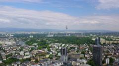 Panorama shot Frankfurt Aerial 4k Footage Stock Footage