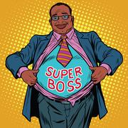 African American businessman super boss Stock Illustration