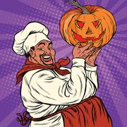 African American or Latino cook with a Halloween pumpkin Piirros