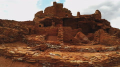 Walking By Native American Indian Ruins- Wupatki National Monument Stock Footage