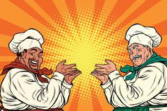 Multi-ethnic chefs in the pose of a promoter Stock Illustration