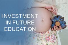 Pregnant woman investment baby education Stock Photos