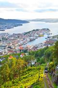 Bergen view from Floyen, cable car tracks. Stock Photos
