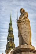 Riga Saint Roland Statue Stock Photos