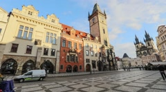 Clock Tower on Old Town square in Prague Stock Footage
