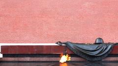 Eternal Flame at Kremlin wall Stock Footage