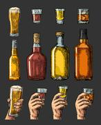 Set alcohol drinks with bottle, glass and hand holding beer, whiskey, tequila Stock Illustration