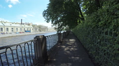 Perilla near the Neva river channel Stock Footage
