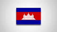 4K - Cambodia country flag Stock Footage
