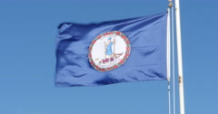 Virginia State Flag Seal Flying in the Wind on Boat Deep Blue, 4K Stock Footage