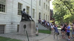 The John Harvard statue, Harvard University, Cambridge, MA. Stock Footage