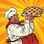 African American or Latino cook with a berry pie Stock Illustration