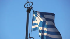 Greece flag on the background of sky Stock Footage