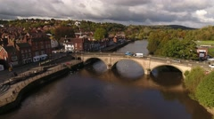 Rising aerial reveal of Bewdley from the bridge. Stock Footage