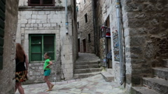 Stone labyrinth is in the old town and fortress of Kotor. Montenegro Stock Footage