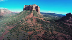 Aerial Camera Hovering Wide Court House Butte- Sedona AZ Stock Footage