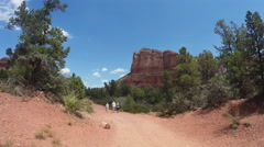 Tourist Family Hiking At Bell Rock Court House Butte- Sedona AZ Stock Footage