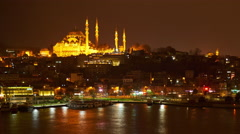 Panorama of Istanbul at night Stock Footage