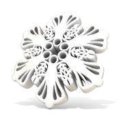 Ornamental, white snowflake, 3D Stock Illustration